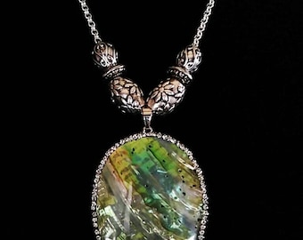 Abalone Shell & Pewter Necklace