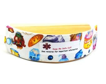 Kid's Shopkins Medical Alert Bracelet Safety I.D. Fabric Band