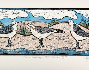 linocut, seagulls, beach, dunes, sea, ocean, seascape, birds, beach house decor, printmaking, home interior, art print with gulls