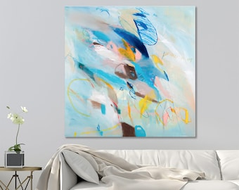 ABSTRACT ART Colorful Canvas art Large City Art 32x32 Teal abstract painting with brown blue large wall art by Duealberi