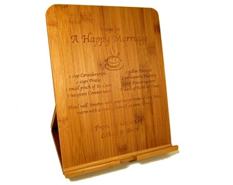 Custom Wooden iPad Stand - Engraved Bamboo Tablet eReader Stand - Recipe Stand for iPad, Kindle, Nook