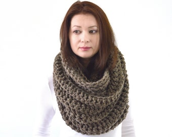 Knit Crochet Chunky Woman Man Infinity Scarf | The Dresden