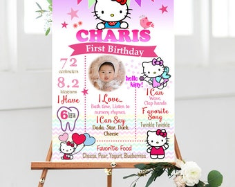Hello Kitty First Birthday, Hello Kitty Birthday, Hello Kitty Theme Chalkboard, Hello Kitty Milestone Board, Hello Kitty Party