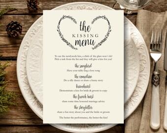 Kissing Menu Printable, Wedding Kissing Menu Template, Wedding reception sign, Wedding Game, Instant Download PDF
