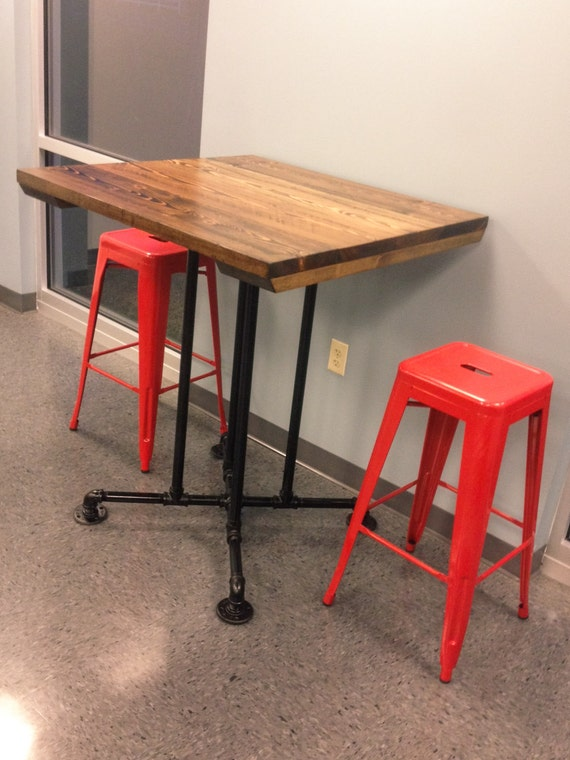 Bar Height Industrial Table | Farmhouse Dining Table With Metal Base | Bar  Height Table With Metal Base | Restaurant Table