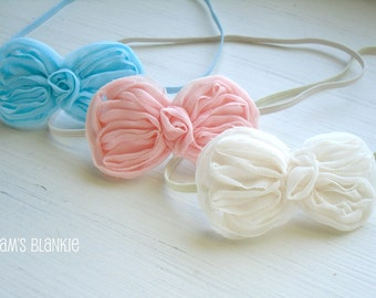 Set of 3 Petite Bow Headbands - Cream, Pink and Blue - Newborn Infant Baby Girls Adults