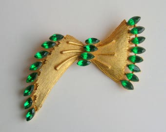 Vintage 50's Bow Emerald Green Brooch