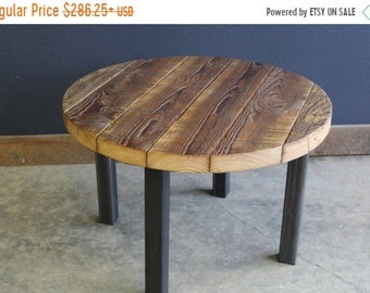 Limited Time Sale 10% OFF Authentic Round Barnwood Table. Straight steel legs. Choose size and height.
