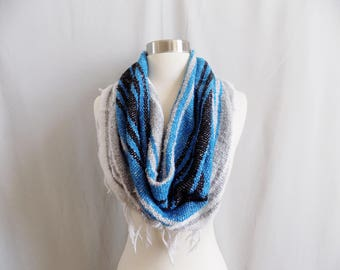Blue Cowl- Boho Fringe- Bohemian Style- Bohemian Accessories- Snood- Mexican Blanket- One Of a Kind- Knitted Cowl- Boho Scarf- Cowl Scarf