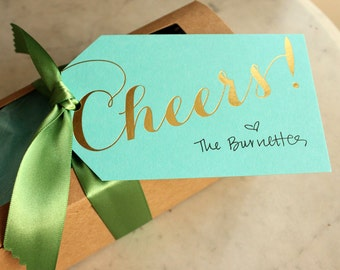 cheers gift / wine / champagne / hanging tags - gold foil (turquoise) -- BLANK