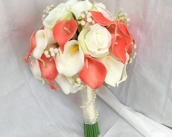 Calla Lily Bouquet, Bridal Wedding Bouquet Coral Calla Lily Floral Bouquet, White Calla Lilies Roses Ribbon Bouquet Babys Breaths SH-DJ-014