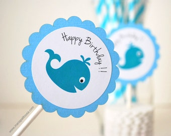 Whale Cupcake Toppers, 12 Personalized Happy Birthday Cupacke Toppers. whale baby shower,  A907