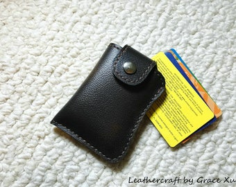 100% hand stitched handmade dark brown cowhide leather business card / credit card / ID / change pouch / case