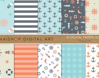 Digital Paper 'Nautical' Stripes, Anchors, Lighthouses...Digital Download for Prints, Cards, Invites, Scrapbook, Collages, Decoupage...