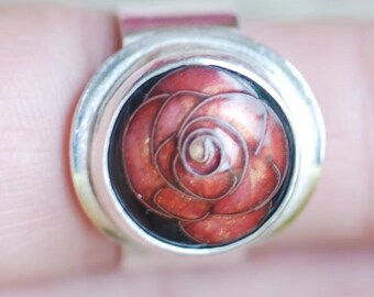 large camelia enamel ring