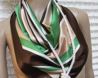 GERMAINE Designer Vintage Scarf, Large Square Scarf, Diagonal Lines Design, Brown, Green, Apricot, and White, 26 x 26 inches, Stylish!