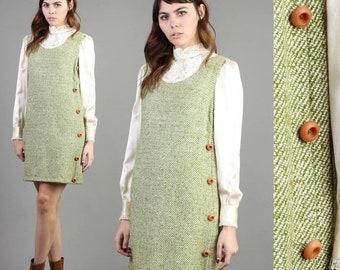 SALE SALE SALE vintage 60s Mossy Green wool Jumper dress size medium M / asymm button pinafore mod hippie mini dress 1960s 70s 1970s