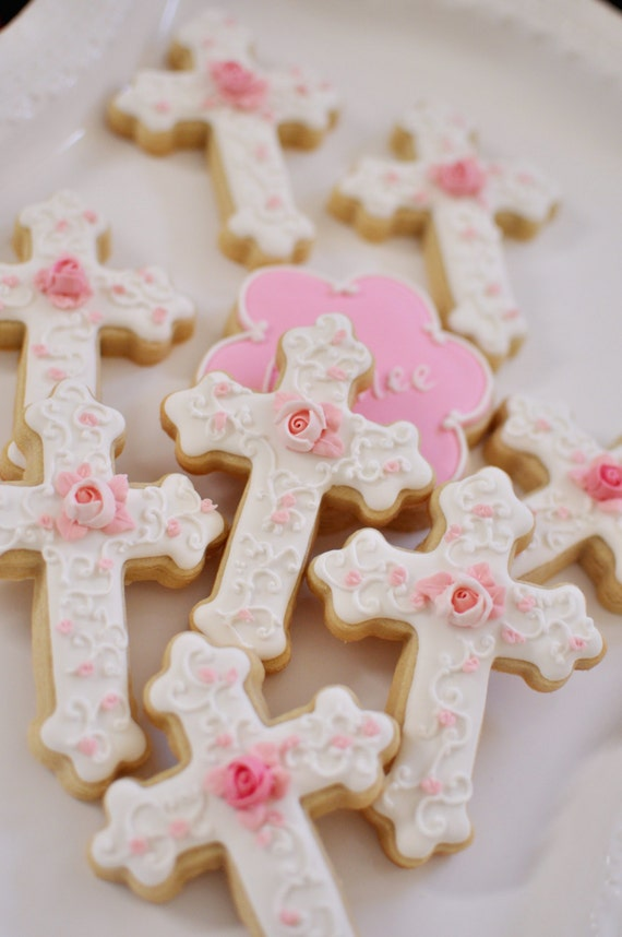 12 Christening, or First Communion Cookies- Cross, with rosebud accent.