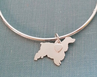 English Cocker Spaniel Dog Bangle Bracelet, Sterling Silver Personalize Pendant, Breed Silhouette Charm, Rescue Shelter, Birthday Gift