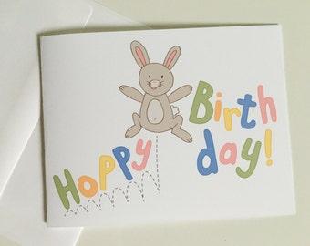 Hoppy birthday card etsy birthday card hoppy birthday bunny greeting card funny birthday card kids bookmarktalkfo Images
