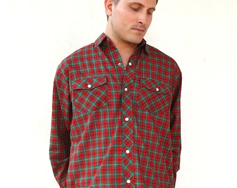 "Vintage mens western long sleeved shirt - red and green check . . . ""Like"" our fb page for 10% discount"