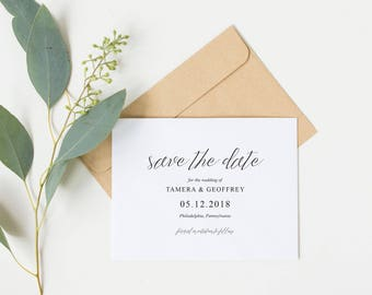 Simple Save the Date Printable, Save the Date PDF, DIY Invitation, DIY Wedding, Printable Save the Date, Modern Save the Date, RC18001