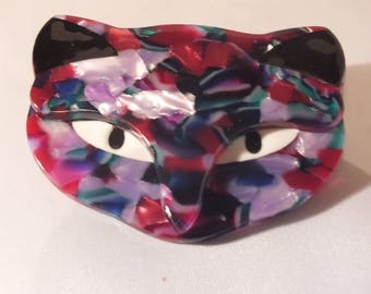 large cat brooch , acrylic, celluloid, perspex, art deco,