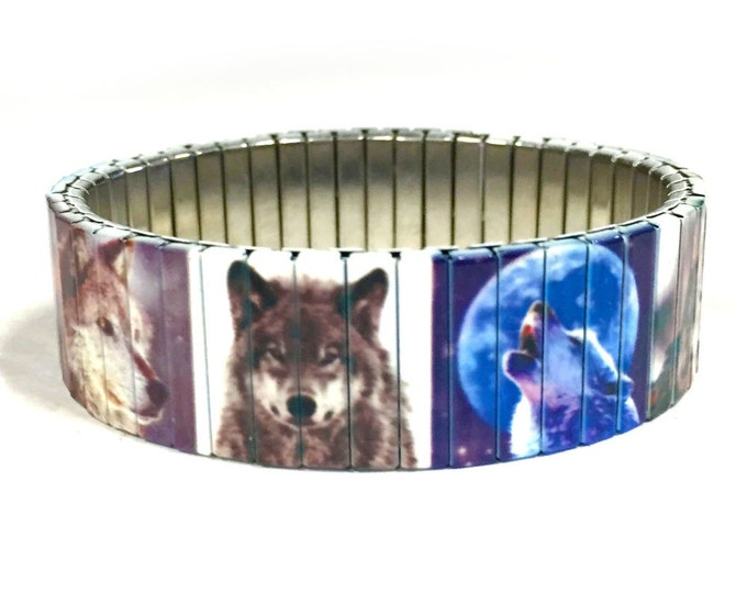 Wolves bracelet, wrist Art, Wildlife, Wolf, Nature, Stainless Steel, Stretch bracelet, Wrist Band, Sublimation, gift for friend