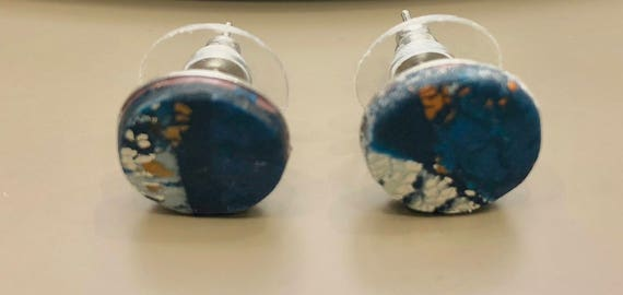 SJC10029 - Earrings - contemporary handmade blue/white/gold polymer clay silver color metal studs