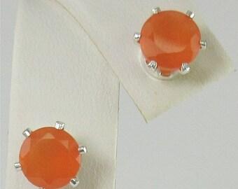 MothersDaySale Faceted Carnelian 7mm 2.30ctw Sterling Silver stud Earrings