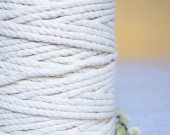 5mm x 140m Twisted Cotton Cord / Macrame  Cord / Cotton Rope - Natural Ecru or Bleached White