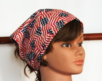 American Flag Bandana Head Scarf Kerchief Neck Wrap Head Scarf Chemo Hear Wrap Patriotic