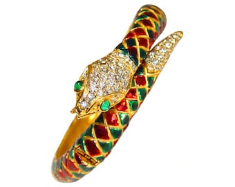 Vintage Snake Bracelet, Mimi di N, Mughal Style, Rhinestone and Enamel Showstopper, Rare, Collectible, Signed, Vintage 1960s