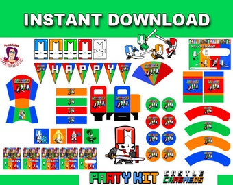 Castle Crashers Party Kit Printable in English. Instant download! Castle Crashers Birthday Decoration, Castle Crashers Party,Birthday Banner