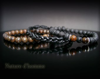 A trio of bracelets in leather and natural stones Ref: BN-399