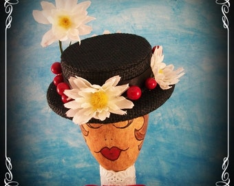 Made To Order/Dare To Be Different Mini Mary Poppins Hat /Perfect Gift For The Mary Poppins Lover/ Black Mini Boater/ Fascinator / Cosplay
