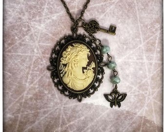 Cameo Woman With Butterflies Necklace with Beads and Charms ~ Classy!  Grandmother Mother Gift