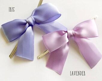 12 IRIS or LAVENDER PURPLE Pre-made Bow Embellishments