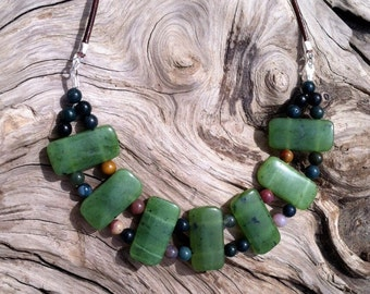 British Columbia Jade, Fancy Jasper and Leather Necklace