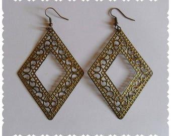 Diamond Earrings gold antiqued filigree