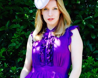 Violet Tweed Roses mini beret fascinator hat