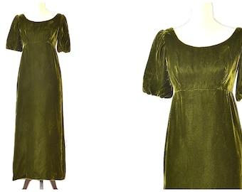 70s Green Velvet Dress - Vintage Prom Dress - Boho Velvet Maxi Dress - Empire Waist Velvet Gown - 70s Princess Dress