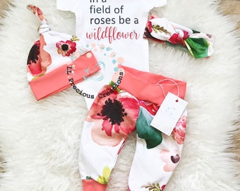 Baby Girl Outfit Baby Girl Clothes Coming Home Outfit Birthday Girl Outfit Coral Floral Outfit In a field of Roses be a Wildflower