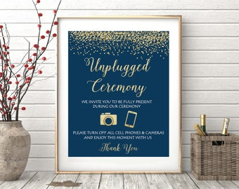 Unplugged Wedding Sign, Unplugged Ceremony Sign, Wedding Signs Printable, Wedding Ceremony Sign, Wedding Signs, Navy Blue Gold Glitter 16x20