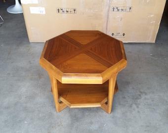 Vintage 1970u0027s Lane Walnut Octagonal Side Table Mid Century Modern End Table  Solid Lower Shelf Original