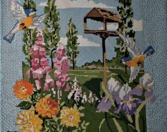 Needlepoint Birds and Flowers Finished Needlepoint
