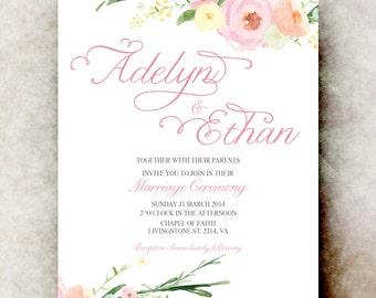 White pink Wedding Invitation - Floral wedding invitation, watercolor invitation, printable wedding invitation