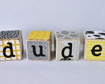 DUDE Wooden Blocks // Word Blocks // Boy Toys // Yellow & Black