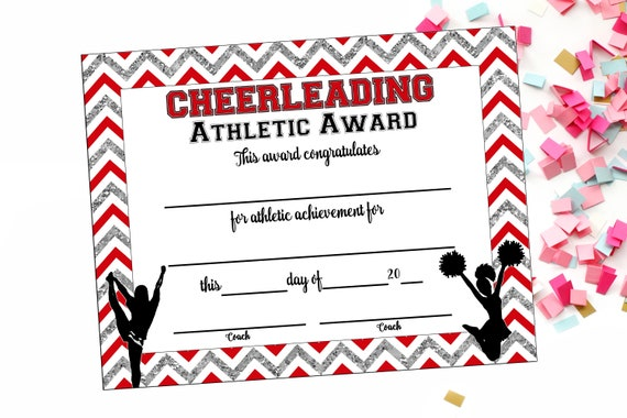 instant download cheerleading certificate cheerleading