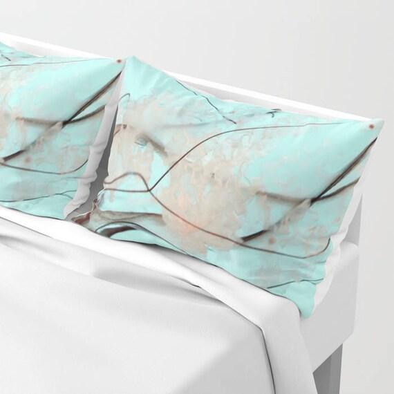 Jellyfish Pillow Shams Set of 2, Pillow Cover,  Sea Nettle, Ocean Blue Sham, Beach, Dorm, Nautical Decor, Aqua Blue bedroom, Surf, Water